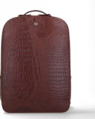 FMME Dagrugzak Claire Laptop Backpack Croco 15.6 Inch Bruin