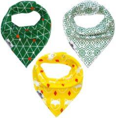 Groene King Mungo Slabbetjes baby jongen | Bandana kwijlslab | 3 stuks slabbers BB02b
