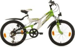 KS Cycling Fully Jugend-Mountainbike, 20 Zoll, weiß-grün, Shimano 6 G.-Kettenschaltung, »Zodiac«
