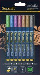 Securit Krijtstiften fineline set van 7 metallic - groen - blauw - paars - roze - bruin - goud - zilver