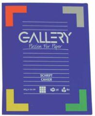 Blauwe Gallery schrift formaat 165 x 21 cm geruit 5 mm 72 bladzijden
