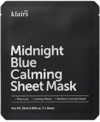 Zwarte Klairs Midnight Blue Calming Sheet Mask 1 Pcs 25ml (Set van 10 stuks)