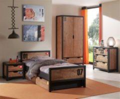 Vipack Furniture Vipack Set Alex best. aus Nachtkonsole, Einzelbett 90x200, Bettschublade, Kleiderschrank 2-trg. und Kommode Kiefer gebürstet