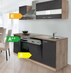 Respekta kitchen economy Respekta Küchenzeile KB220ESGC 220 cm Grau-Eiche Sägerau Nachbildung