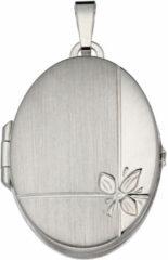 Best Basics Classics&More medaillon - zilver - ovaal - glanzend - mat - bloemmotief - 31 x 21 mm