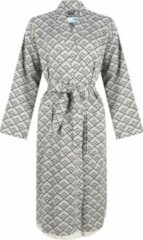 ZusenZomer Hamam sauna dames badjas GEO - lang model - bio-katoen - Zwart grijs