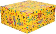 1x Rollen inpakpapier/cadeaupapier Club van Sinterklaas geel 200 x 70 cm - Cadeaupapier/inpakpapier voor 5 december pakjesavond