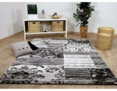 Designer Teppich Sevilla Klassik Grau Weiss Patchwork Pergamon Grau