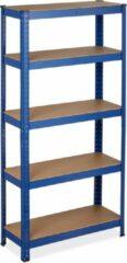 Blauwe Relaxdays Stellingkast metaal - 875 kg belastbaar - opbergrek - 5 etages - legbordstelling
