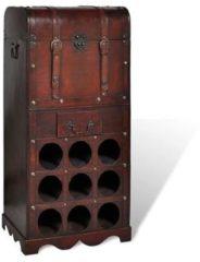 Rode VidaXL Wijnrek - 40 x 27 x 79 cm - Hout - 9 flessen - Met opbergkist