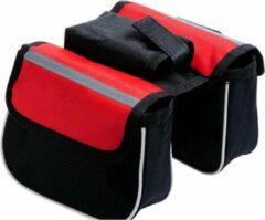 Merkloos / Sans marque Handig klein fietstasje rood - kleine fietstas voor stuur of stang - compact, klein en handig - ideaal voor snelle toegang tot o.a. telefoon, portemonnee, zonnebrand - verkrijgbaar in twee kleuren