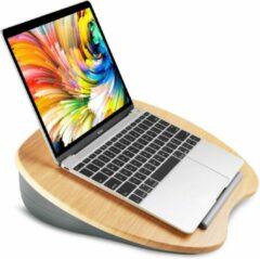 HN® HN laptop standaard - Grijze kussen/ Hout