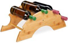 Naturelkleurige Relaxdays wijnrek voor 5 flessen - flessenrek - bamboe - flessenhouder - wijnstandaard