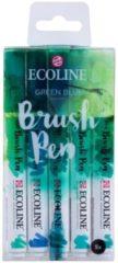 Blauwe Koninklijke Talens B.V Talens Ecoline 5 brush pens ''Green Blue''