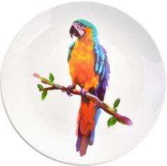 Clayre & Eef | Decoratie bord Ø 20*2 cm | Meerkleurig | Keramiek | Rond | Papegaai | 6CE0964