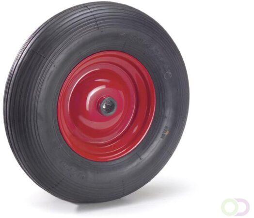 Afbeelding van Fetra PU-geschuimd wiel 400 x 100 mm, Stalen velg - rood - rillenprofiel