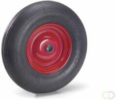 Fetra PU-geschuimd wiel 400 x 100 mm, Stalen velg - rood - rillenprofiel