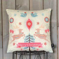 Creme witte Lekker Zacht Kerst Kussenhoes - Merry Christmas