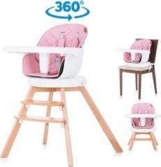 Chipolino Kinderstoel 3 in 1 Rotto roze 360 graden draaibaar, geschikt vanaf 6+ maanden