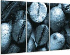 GroepArt Glas schilderij Koffiebonen, Keuken | Blauw, Grijs | 120x80cm 3Luik | Foto print op Glas | F006602