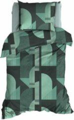 Blauwgroene Satin d'Or Baskiat - Dekbedovertrek - Eenpersoons - 140x200/220 cm + 1 kussensloop 60x70 cm - Teal