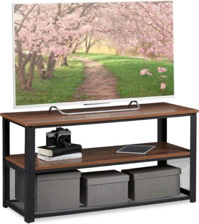 Afbeelding van Donkerbruine Relaxdays tv meubel - salontafel industrieel - salon tafel - bijzettafel - metaal
