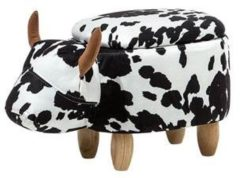 Beliani Hocker zwart-wit gestoffeerd COW