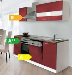 Respekta kitchen economy Respekta Küchenzeile KB220WRC 220 cm Weiß - Rot