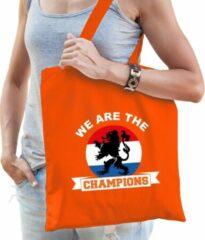 Bellatio Decorations We are the champions katoenen tas/shopper oranje voor dames en heren - Nederland supporter - Koningsdag/ EK/ WK voetbal