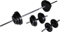 Zwarte VidaXL - Halterset / Dumbbell set - Totaal 30,5 kg