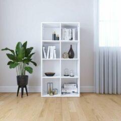 SJ interiors Boekenkast 66x30x130cm Wit (Incl Magazine Houder) - Boeken kast - Boekenrek - badkamer rek - Woonkamer rek
