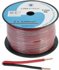 Cabletech - Speaker kabel luidsprekersnoer CCA rood / zwart 2x 2.5mm Haspel 100m