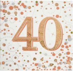 Roze Oaktree UK Servetten 40 jaar Rose Gold (16 stuks)