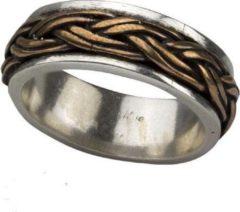 Gouden Etnox Keltische knoop 925 zilveren ring met brons maat 59