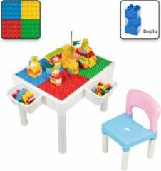 Decopatent® - Kindertafel met 1 Stoeltje - Speeltafel met bouwplaat en vlakke kant - 2 Bakjes - Geschikt voor Duplo® Bouwstenen
