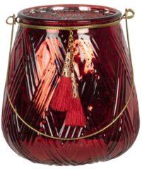Clayre & Eef Glazen Theelichthouder 6GL2782 Ø 13*14 cm - Rood Glas Waxinelichthouder Windlichthouder