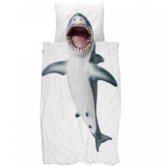 Witte Snurk Shark dekbedovertrekset van katoen 160TC - inclusief kussenslopen