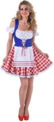 Magic by freddy Hollandse dirndl in rood,wit en blauw met molentjes op het schort | Oktoberfest kleding dames maat 42/44 (L)