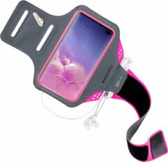 Roze Mobiparts Comfort Fit Sport Armband Samsung Galaxy S10 Plus Neon Pink