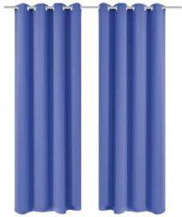 Zwarte VidaXL Gordijnen met metalen ringen verduisterend 135x245 blauw 2 st