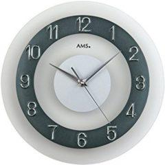 Zilveren Prachtige AMS wandklok W9355- laag geluidsniveau