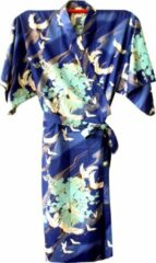 Blauwe TA-HWA Traditionele Japanse Kimono Yukata Kraanvogels Kobalt Dames Nachtmode kimono One Size