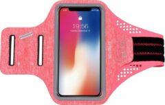 Gymston Universele Smartphone Hardloop Armband Roze met kaarthouder Inclusief ruimte voor pasjes en 2 sleutels- Sport Hardloopband – Reflecterend / Verstelbaar / Sportarmbanden / Geschikt voor iPhone 11 Pro / XS / X / 8 / 7 / 6S / 6 - Spatwaterdicht