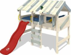WICKEY Kinderbed, hoogslaper CrAzY Lagoon met rode glijbaan, Houten bed 90 x 200 cm