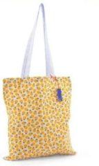Gele Katoenen tas Lemon Citroen opvouwbare schoudertas shopper 37 x 42 cm