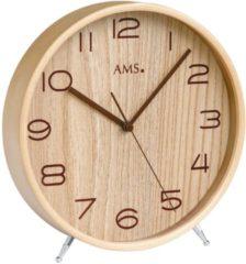 Bruine AMS 5118 Tafelklok zendergestuurd hout en mineraalglas 22 cm ø