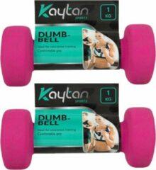 Kaytan Set dumbbells 1 kg - 2x dumbbells - Gewichten - Halterset - Roze