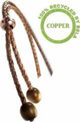 Bruine Bela Donaco Ketting - gevlochten vintage leder koord, koper en hout