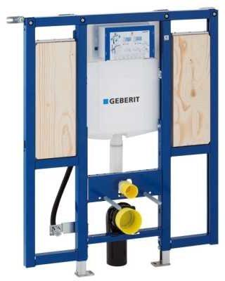 Afbeelding van Blauwe Geberit Duofix WC element H112 met reservoir UP320 112cm met armsteunbevestiging excl.iso set 111375005