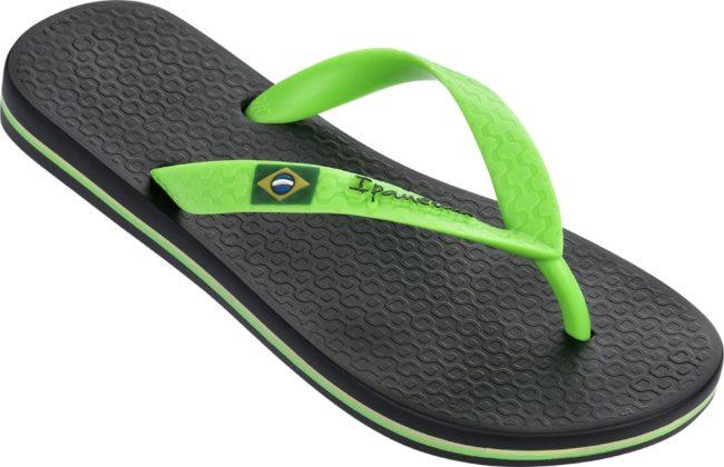 Afbeelding van Groene Ipanema Classic Brasil Kids slipper voor jongens en meisjes - black/green - maat 37